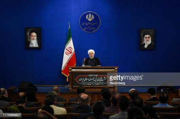 Hassan Rouhani, Iran's president, speaks during a news conference in Tehran, Iran, on Monday, Oct. 14, 2019. Rouhani said the attack on the Iranian...