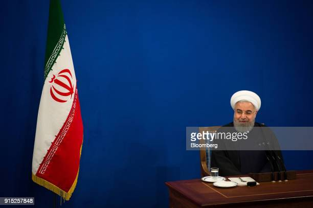 Hassan Rouhani Iran's president speaks during a news conference to mark the 39th anniversary of the Islamic Revolution in Tehran Iran on Tuesday Feb...