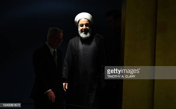 Hassan Rouhani President of Iran waits to speak during the General Debate of the 73rd session of the General Assembly at the United Nations in New...