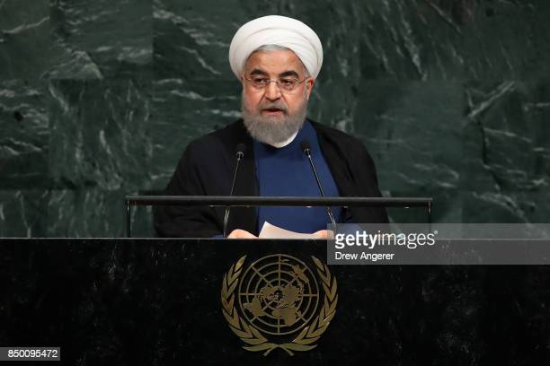 Hassan Rouhani President of the Islamic Republic of Iran addresses the United Nations General Assembly at UN headquarters September 20 2017 in New...