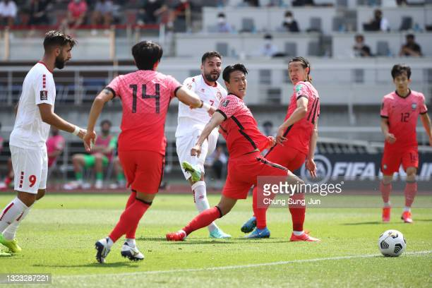 Hassan Saad of Lebanon scores his team's first goal during the FIFA World Cup Asian Qualifier 2nd round Group H match between South Korea and Lebanon...