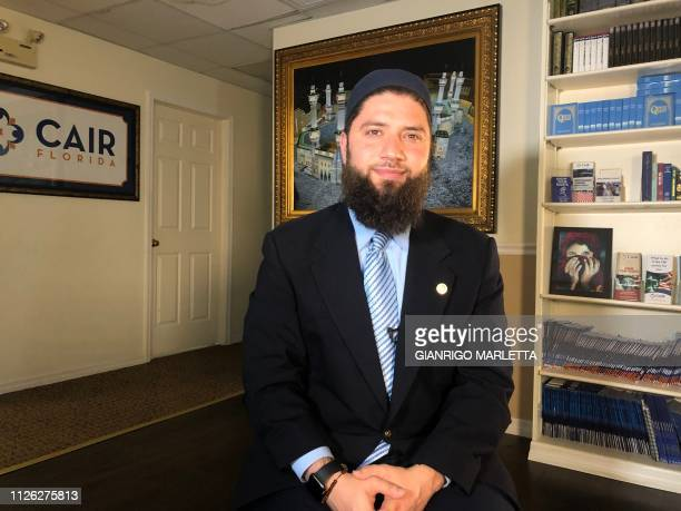 Hassan Shibly lawyer for 24yearold Hoda Muthana poses in his office in Tampa Florida on February 20 2019 The United States said Wednesday it would...