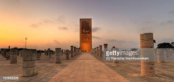 hassan tower at sunset time - rabat morocco stock pictures, royalty-free photos & images
