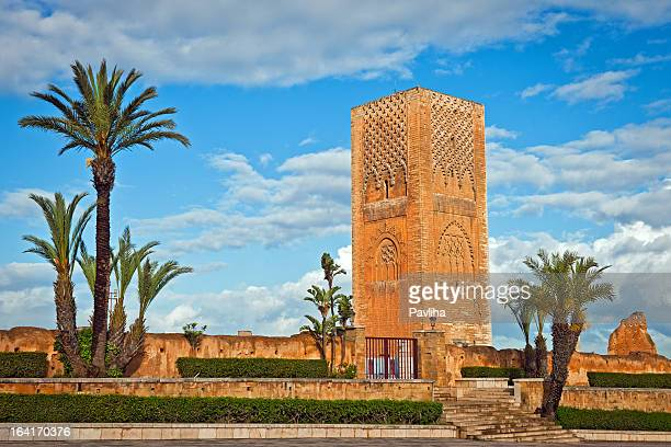 hassan tower in rabat morocco africa - rabat morocco stock pictures, royalty-free photos & images