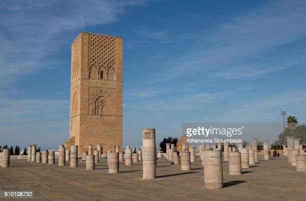 Hassan Tower or Tour Hassan and the ruins of the pillars of the mosque which was destroyed by an earthquake in 1755 on December 30 2017 in Rabat...