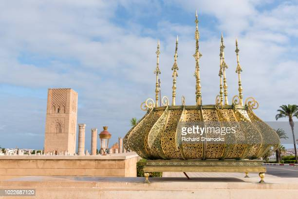hassan tower, rabat, morocco - mosque hassan ii stock photos and pictures