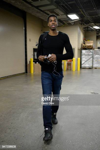 Hassan Whiteside of the Miami Heat arrives before the game against the Philadelphia 76ers in Game One of Round One of the 2018 NBA Playoffs on April...