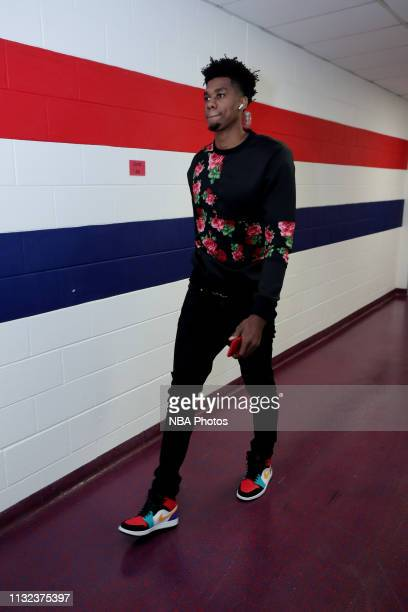 Hassan Whiteside of the Miami Heat arrives to the arena prior to the game against the Washington Wizards on March 23 2019 at Capital One Arena in...