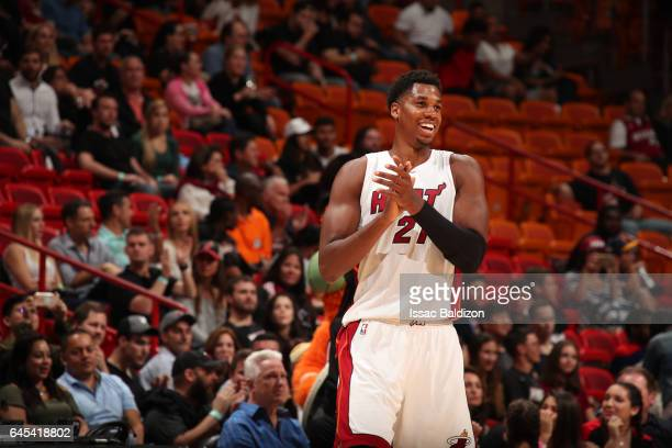 Hassan Whiteside of the Miami Heat celebrates during a game against the Indiana Pacers on February 25 2017 at American Airlines Arena in Miami...