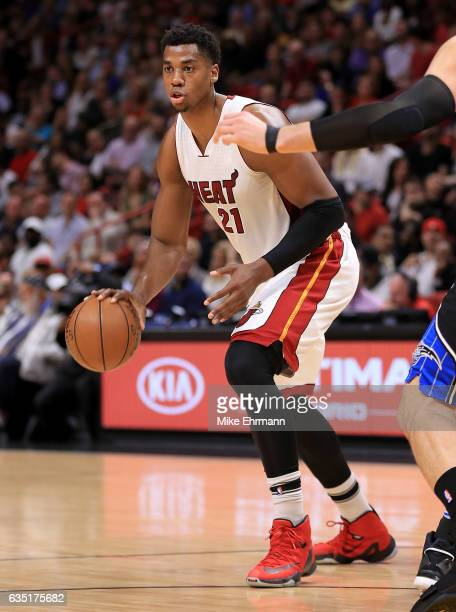 Hassan Whiteside of the Miami Heat dribbles during a game against the Orlando Magic at American Airlines Arena on February 13 2017 in Miami Florida...