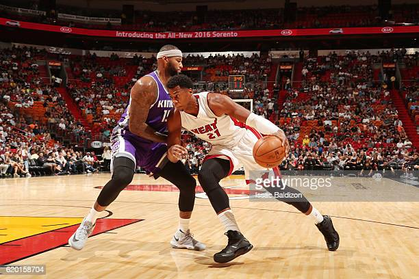 Hassan Whiteside of the Miami Heat drives to the basket against DeMarcus Cousins of the Sacramento Kings on November 1 2016 at American Airlines...