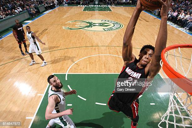 Hassan Whiteside of the Miami Heat dunks against the Milwaukee Bucks during the game on March 9 2016 at BMO Harris Bradley Center in Milwaukee...