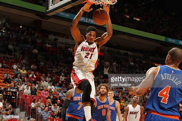 Hassan Whiteside of the Miami Heat dunks against the New York Knicks on January 6 2016 at American Airlines Arena in Miami Florida NOTE TO USER User...