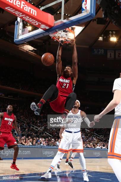 Hassan Whiteside of the Miami Heat dunks against the New York Knicks on March 29 2017 at Madison Square Garden in New York City New York NOTE TO USER...