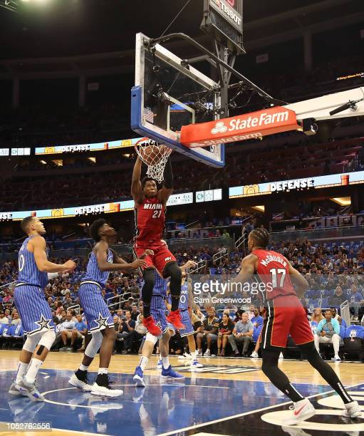 Hassan Whiteside of the Miami Heat dunks during the game against the Orlando Magic at Amway Center on October 17 2018 in Orlando Florida NOTE TO USER...