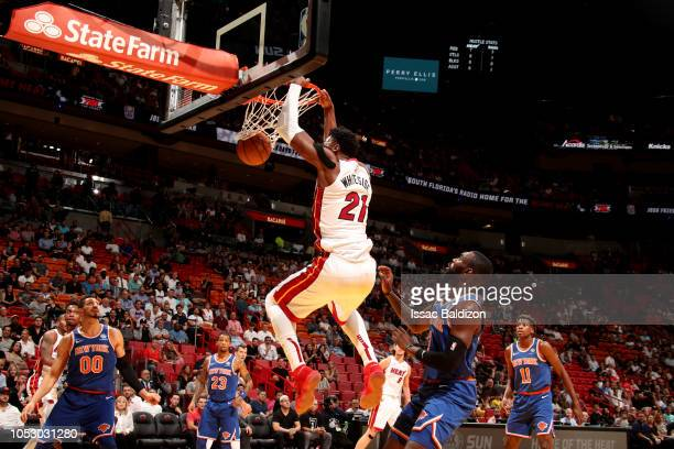 Hassan Whiteside of the Miami Heat dunks the ball against the New York Knicks on October 24 2018 at American Airlines Arena in Miami Florida NOTE TO...