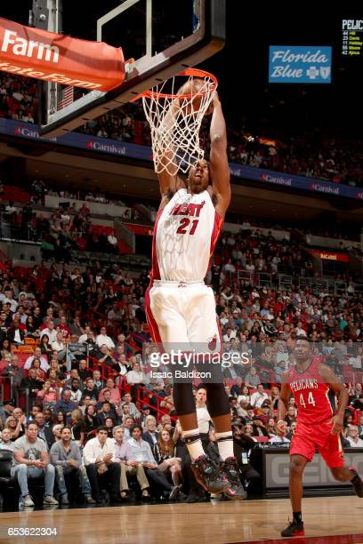 Hassan Whiteside of the Miami Heat dunks the ball against the New Orleans Pelicans on March 15 2017 at American Airlines Arena in Miami Florida NOTE...