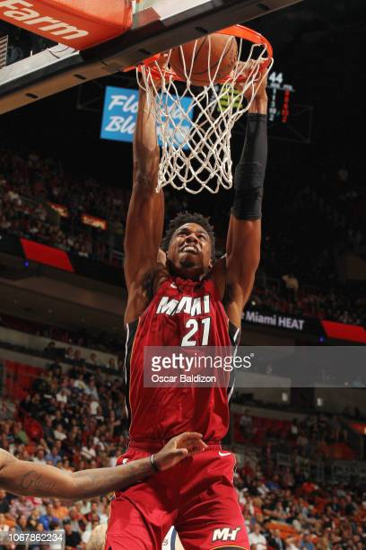 Hassan Whiteside of the Miami Heat dunks the ball against the Utah Jazz on December 2 2018 at American Airlines Arena in Miami Florida NOTE TO USER...