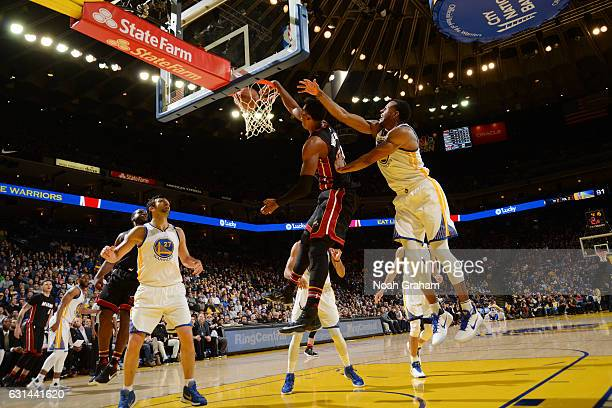 Hassan Whiteside of the Miami Heat dunks the ball during a game against the Golden State Warriors on January 10 2017 at ORACLE Arena in Oakland...