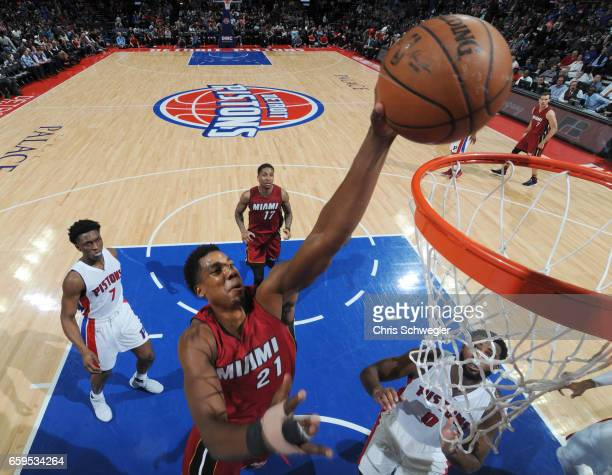 Hassan Whiteside of the Miami Heat dunks the ball during a game against the Detroit Pistons on March 28 2017 at The Palace of Auburn Hills in Auburn...