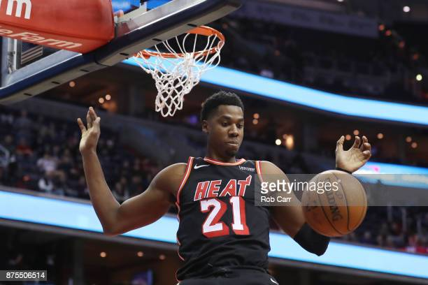 Hassan Whiteside of the Miami Heat dunks the ball in the first half against the Washington Wizards at Capital One Arena on November 17 2017 in...