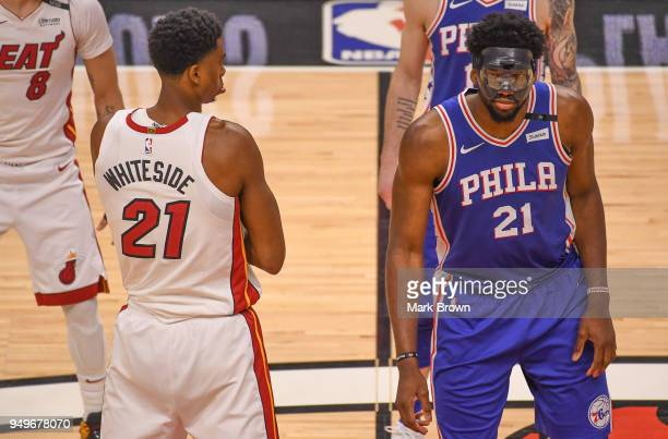 Hassan Whiteside of the Miami Heat gets ready to tip off against Joel Embiid of the Philadelphia 76ers in the first quarter during Game Four of Round...