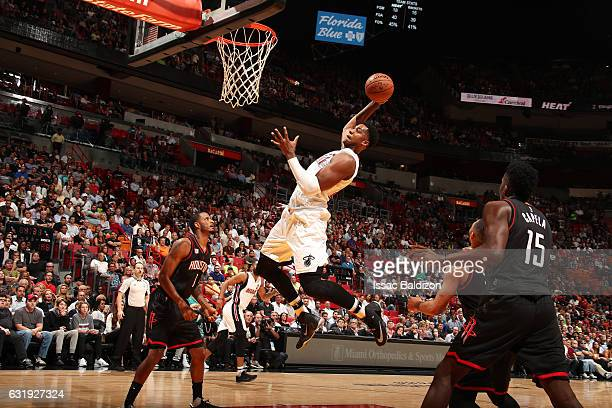 Hassan Whiteside of the Miami Heat goes for the dunk during the game against the Houston Rockets on January 17 2017 at AmericanAirlines Arena in...