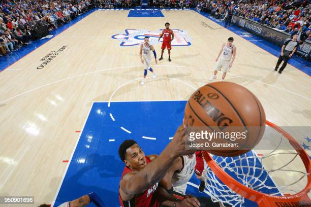 Hassan Whiteside of the Miami Heat goes to the basket against the Philadelphia 76ers in Game Five of Round One of the 2018 NBA Playoffs on April 24...