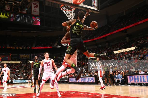 Hassan Whiteside of the Miami Heat goes to the basket for a layup during the game against the Atlanta Hawks on April 4 2018 at Philips Arena in...
