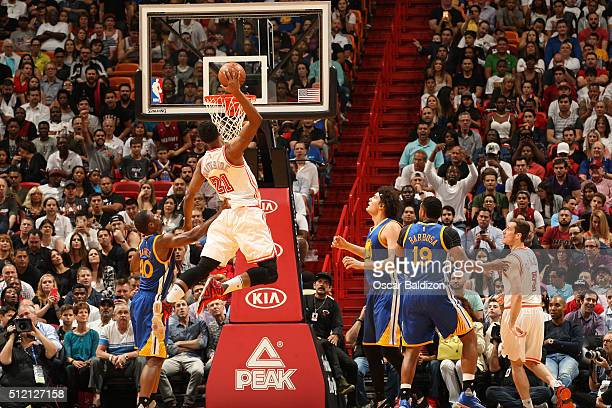 Hassan Whiteside of the Miami Heat goes up for a dunk during the game against the Golden State Warriors on February 24 2016 at American Airlines...