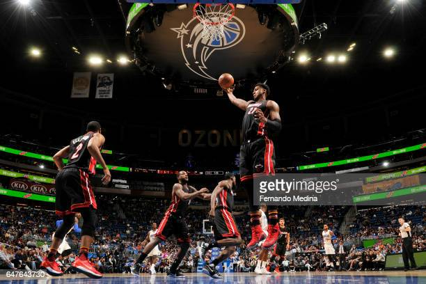 Hassan Whiteside of the Miami Heat grabs the rebound against the Orlando Magic on March 3 2017 at the Amway Center in Orlando Florida NOTE TO USER...