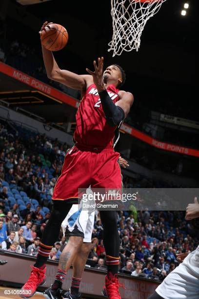 Hassan Whiteside of the Miami Heat grabs the rebound during a game against the Minnesota Timberwolves on February 6 2017 at the Target Center in...