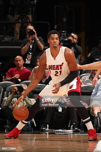 Hassan Whiteside of the Miami Heat handles the ball against the Brooklyn Nets on January 30 2017 at American Airlines Arena in Miami Florida NOTE TO...