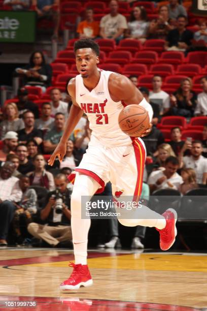 Hassan Whiteside of the Miami Heat handles the ball against the Atlanta Hawks on October 12 2018 at American Airlines Arena in Miami Florida NOTE TO...