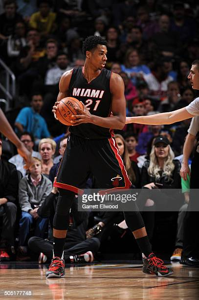 Hassan Whiteside of the Miami Heat handles the ball against the Denver Nuggets on January 15 2016 at the Pepsi Center in Denver Colorado NOTE TO USER...