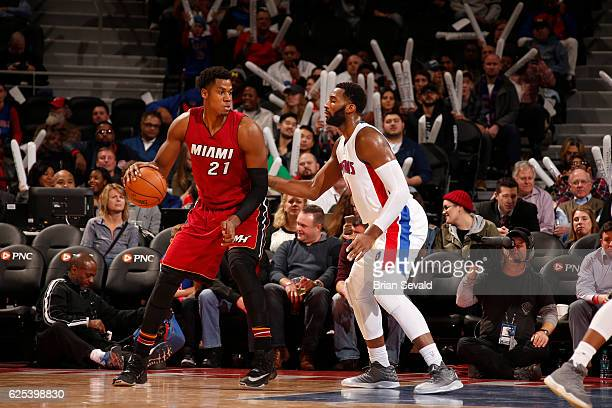 Hassan Whiteside of the Miami Heat handles the ball against the Detroit Pistons on November 23 2016 at The Palace of Auburn Hills in Auburn Hills...