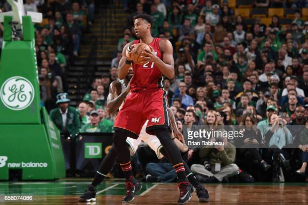 Hassan Whiteside of the Miami Heat handles the ball against the Boston Celtics on March 26 2017 at the TD Garden in Boston Massachusetts NOTE TO USER...