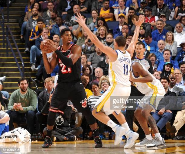 Hassan Whiteside of the Miami Heat handles the ball against the Golden State Warriors on November 6 2017 at ORACLE Arena in Oakland California NOTE...