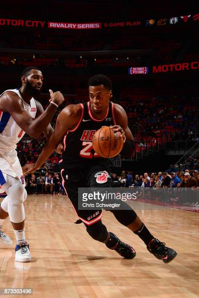 Hassan Whiteside of the Miami Heat handles the ball against the Detroit Pistons on November 12 2017 at Little Caesars Arena in Auburn Hills Michigan...