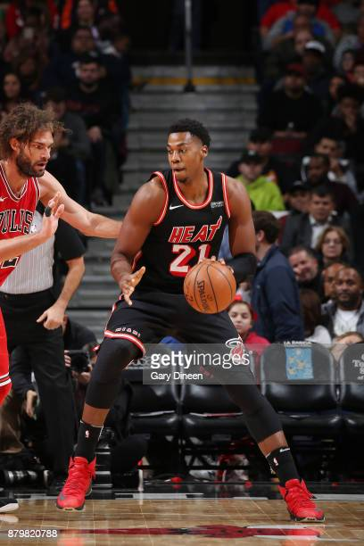 Hassan Whiteside of the Miami Heat handles the ball against the Chicago Bulls on November 26 2017 at the United Center in Chicago Illinois NOTE TO...