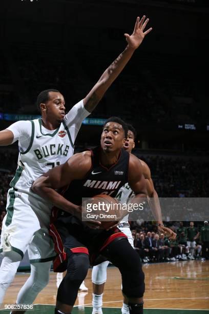 Hassan Whiteside of the Miami Heat handles the ball against the Milwaukee Bucks on January 17 2018 at the BMO Harris Bradley Center in Milwaukee...