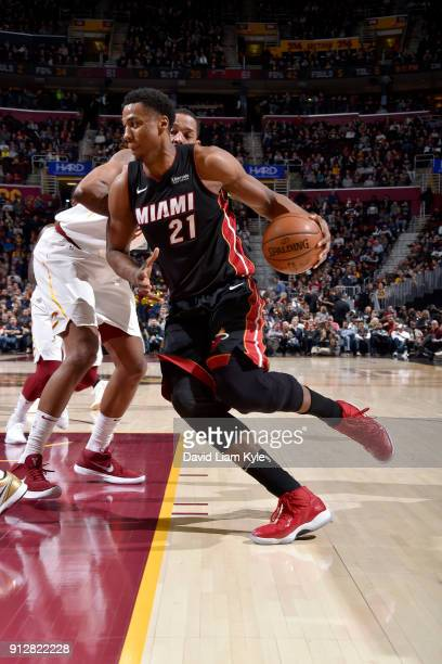 Hassan Whiteside of the Miami Heat handles the ball against the Cleveland Cavaliers on January 31 2018 at Quicken Loans Arena in Cleveland Ohio NOTE...