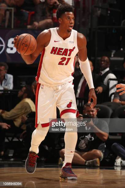 Hassan Whiteside of the Miami Heat handles the ball against the San Antonio Spurs on November 7 2018 at American Airlines Arena in Miami Florida NOTE...