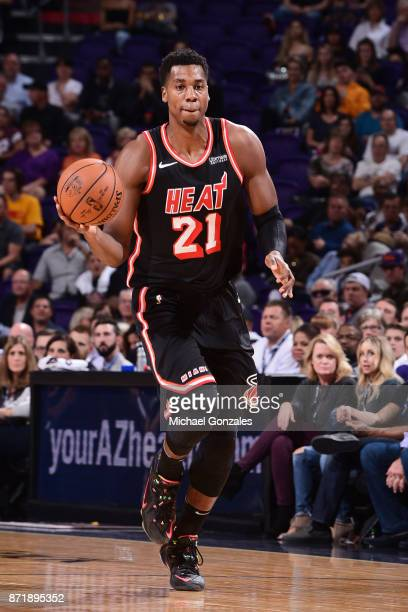 Hassan Whiteside of the Miami Heat handles the ball against the Phoenix Suns on November 8 2017 at Talking Stick Resort Arena in Phoenix Arizona NOTE...