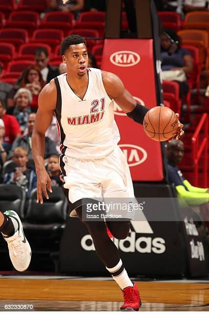 Hassan Whiteside of the Miami Heat handles the ball during a game against the Milwaukee Bucks on January 21 2017 at American Airlines Arena in Miami...