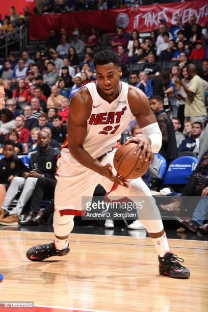 Hassan Whiteside of the Miami Heat handles the ball during the game LA Clippers on November 5 2017 at STAPLES Center in Los Angeles California NOTE...