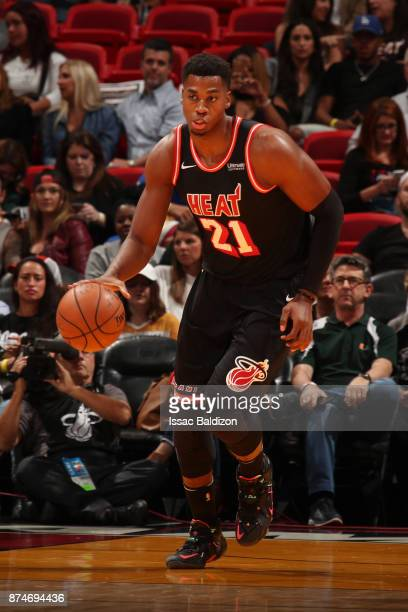 Hassan Whiteside of the Miami Heat handles the ball during the game against the Washington Wizards at the American Airlines Arena on November 15 2017...