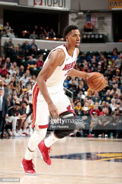 Hassan Whiteside of the Miami Heat handles the ball during the game against the Indiana Pacers on January 10 2018 at Bankers Life Fieldhouse in...
