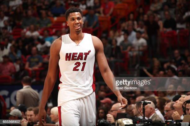 Hassan Whiteside of the Miami Heat is seen during the game against the Portland Trail Blazerson March 19 2017 at AmericanAirlines Arena in Miami...