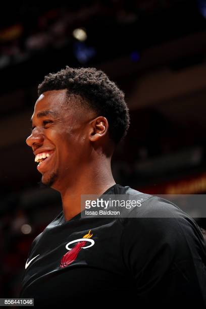 Hassan Whiteside of the Miami Heat looks on during the preseason game against the Atlanta Hawks on October 1 2017 at American Airlines Arena in Miami...